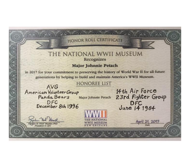 WW II Museum honors Johnnie Petach